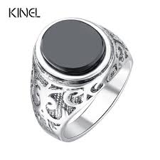 fashion mens rings images Best mens rings black precious stones real 18k gold ring for men jpg