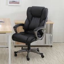Black Leather Office Chair Heavy Duty Leather Office Rolling Computer Chair Black High Back