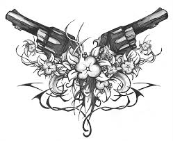cross tattoo skull gun guns flowers tribes and face by jacko41