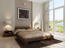 stylish simple bedroom design with hardwood bed and polka dots