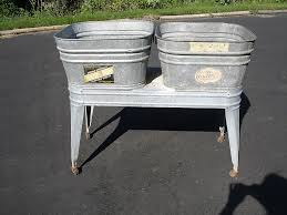 Antique Galvanized Bathtub Vintage Wheeling Double Galvanized Wash Tub Stand Planter Ebay