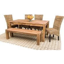 sotto sheesham rattan 5 piece dining set dining room furniture