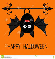 happy halloween card cute cartoon hanging bat animal character