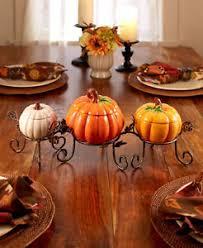 4 pc ceramic pumpkin centerpiece set treat bowls fall thanksgiving