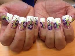 purple flower w black line nail art gallery