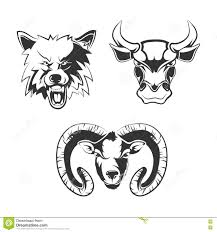vector elements for sport team labels with wolf bulls and ram