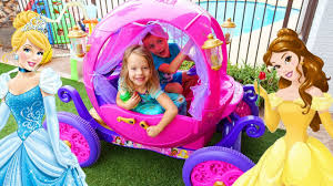 frozen power wheels sleigh disney princess carriage kids driving in the backyard real power