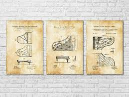 Music Decor Steinway Piano Patent Collection Of 3 Patent Print Wall Decor