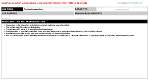Technical Support Job Description For Resume by Cabinet Assembler Job Description