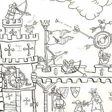 medieval castle colouring in poster by really giant posters