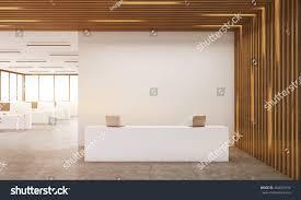 reception room interior computers on desks stock illustration