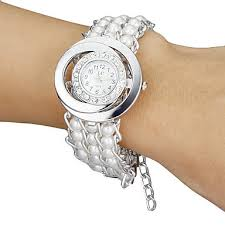 pearl bracelet watches images New arrivals white women diamante round dial pearl bracelet watch jpg