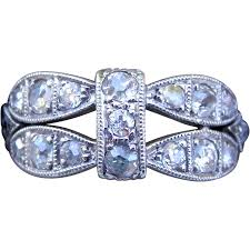 art deco platinum old mine cut diamond milgrain ring from