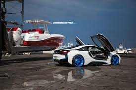 Bmw I8 With Rims - another white bmw i8 on bright blue wheels bmw i8 lowered on 22