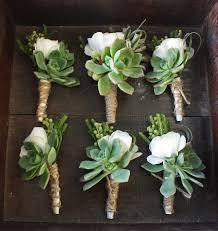 Succulent Boutonniere Succulents U0026 White Flowers Roses U0026 Burlap Boutonnieres These