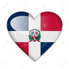 Domenican Flag Dominican Flag In Heart Shape Isolated On White Background Stock