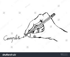 hand writing complete illustration sketch hand stock vector