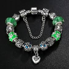 silver bracelet pandora style images Green skies silver pandora style bracelet combo set with 15 jpg