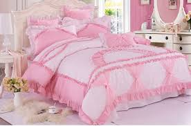 pink white girls lace ruffled bowtie princess pastoral bedding