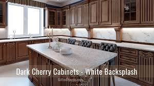 what backsplash looks with cherry cabinets cherry wood kitchen cabinets countertop wall colors