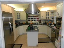 Small U Shaped Kitchen With Island Naturally Brown Finishing Small Kitchen Apartment Wooden Wall