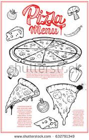 pizza hand written lettering logo label stock vector 609943190