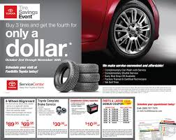 toyota tire wear service department coupons specials foothills toyota