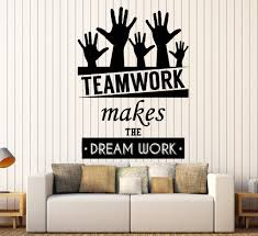 wall stickers and decals buy online wall decorations at cool vinyl decal wall sticker office quote teamwork makes the dreamwork decor z3955