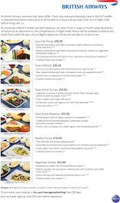 british airways airline meal information for passengers