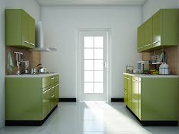 green modular kitchen designs parallel shaped modular kitchen