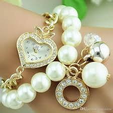 bracelet design watches images Romantic heart dial design wristwatch rhinestone pendents pearls jpg