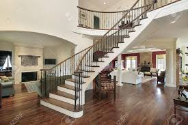 foyer with staircase and open floor plan stock photo picture and
