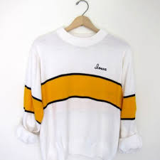 iowa hawkeye sweater vintage white yellow striped sweater from birdies