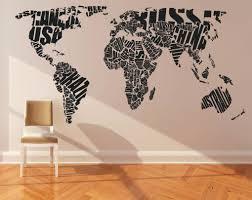 World Map Wall Decor World Map Wall Decal Sticker Wall Decal Vinyl Sticker Home Decor