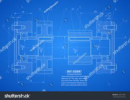 blueprints of a house blueprint shaft assembly project technical drawing stock vector