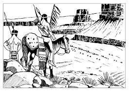 free coloring page coloring indians keeping watch indians