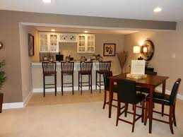 basement modern home design ideas with wooden bar stools and