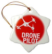 3drose drone with words uav pilot snowflake ornament