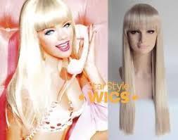 fleco largo muñeca barbie de lujo extra largo lacio rubias romo flecos disfraz