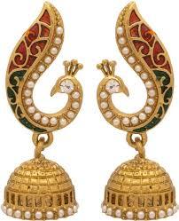 jhumki earring flipkart buy voylla artificial peacock textured