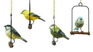 buy set of 4 resin song birds on perches hanging ornaments four