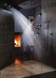 double shower bathrooms with fireplaces