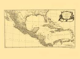 Old Map Of Mexico by Old Caribbean Map Americas And Gulf Of Mexico
