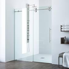 48 In Shower Door Vigo Elan 48 Inch Frameless Sliding Shower Door Clear Stainless