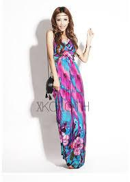 floral print halter silky long maxi dress d1323 summer dresses