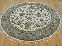 Round Persian Rug by 7 U0027 X 7 U0027 Round Ivory Wool And Silk Rajasthan Hand Knotted Oriental