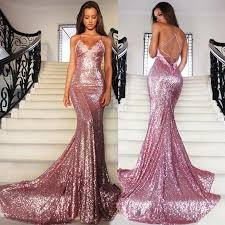 2018 sparkly rose gold prom dresses spaghetti straps plunging v