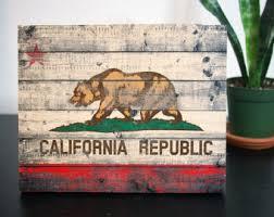 reclaimed painted wood california flag