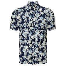 buy edwin standard palm tree print sleeve shirt indigo