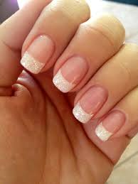 use iridescent white glitter white tips fully dipped in glitter